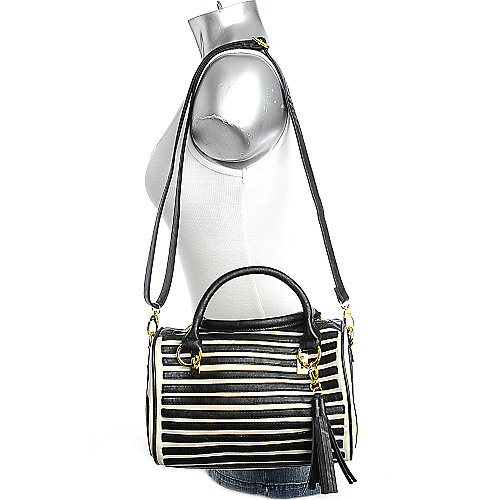 Nila Anthony Black Stripes Satchel