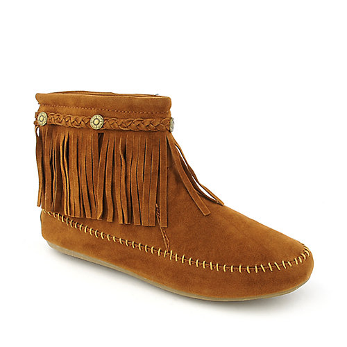 Nature Breeze Women's Fringe Ankle Boot Cherokee-01 Tan Ankle Boots