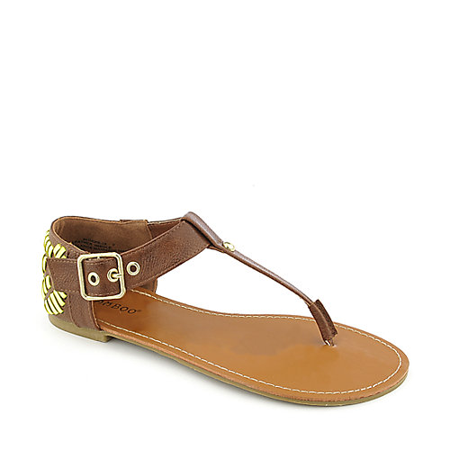 Bamboo Sloane-10 Brown T-Strap Sandals