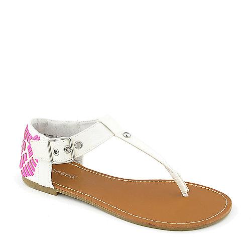 Bamboo Sloane-10 White T-Strap Sandals