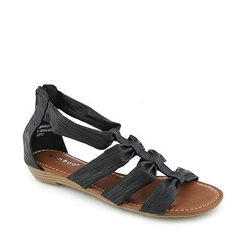 Bamboo Seminar-01 Black Flat Sandals