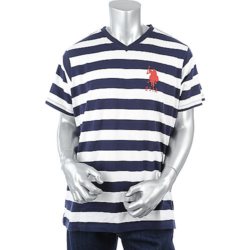 U.S. Polo Association Mens Striped V-Neck Tee