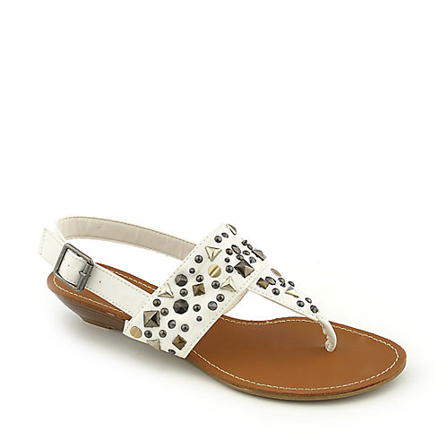 Bamboo Dalinda-01 White T-Strap Sandals