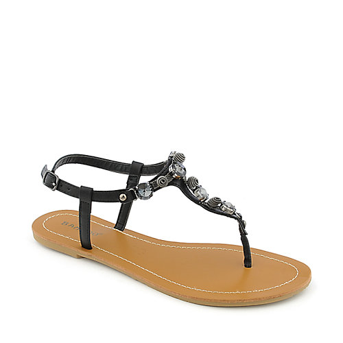 Bamboo Monster-02 Black T-Strap Sandals