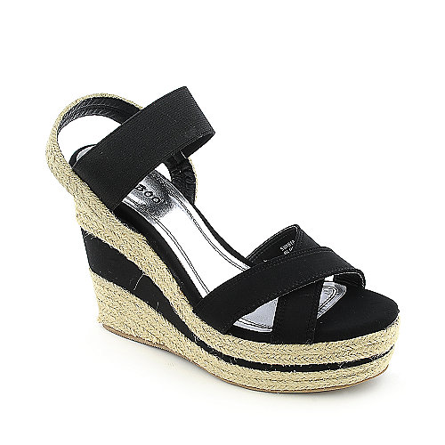 Bamboo Sunnie-18 Wedge Sandals Black Espadrille