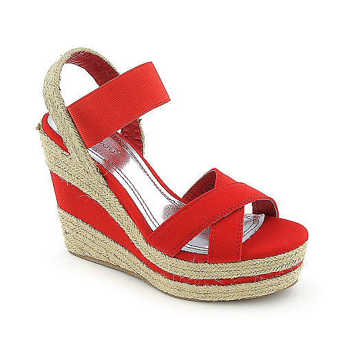 Bamboo Sunnie-18 Wedge Sandals Red Espadrille