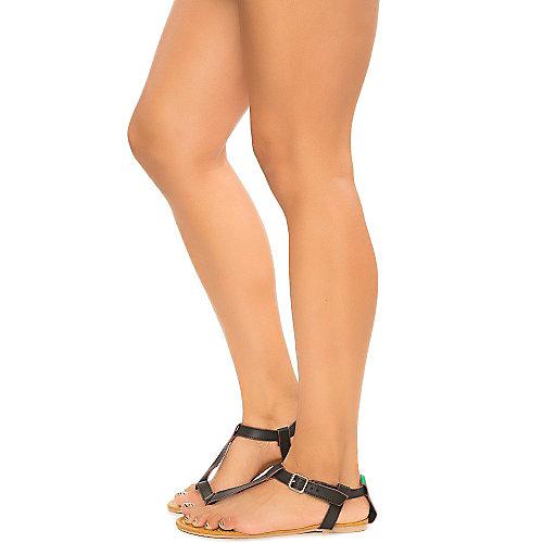Bamboo Sherin-04 Black Flat Sandals