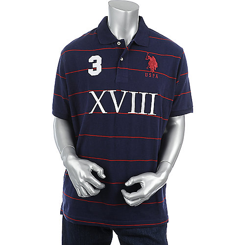 U.S. Polo Association Mens Striped Pique Polo
