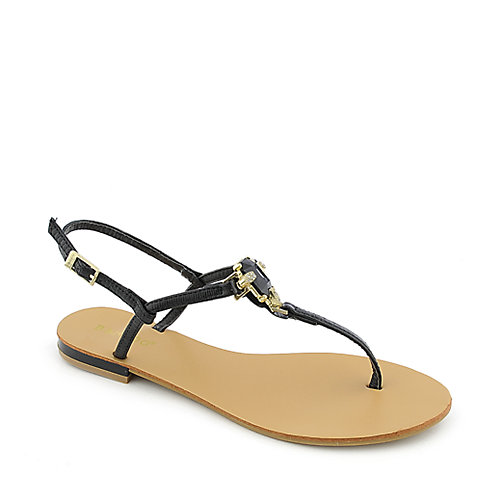 Bamboo Bloom-72 Black Jeweled Sandals