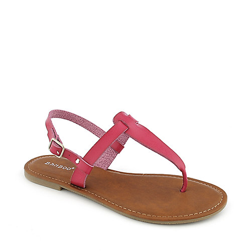 Bamboo Warner-02  Fuschia T-Strap Sandals