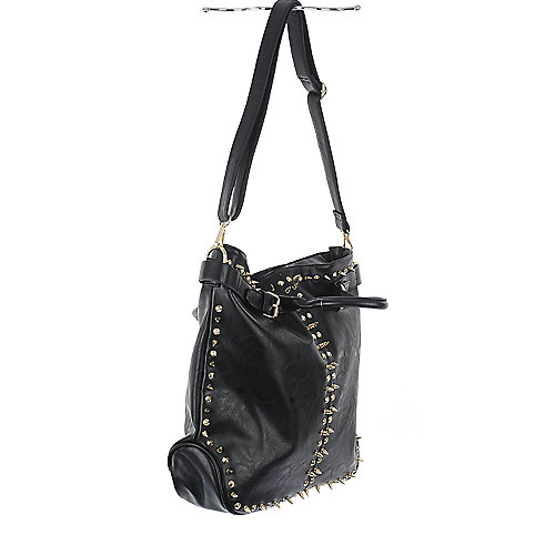 nuG Black Studded Leather Bag