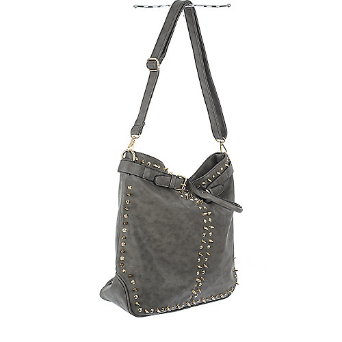 nuG Grey Studded Leather Bag