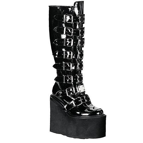 Demonia Platform Boots Swing 8 Buckle  Black Platform Boots