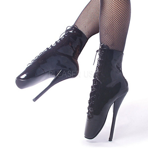 Devious Ballet Ankle Lace Black Costume Shoes