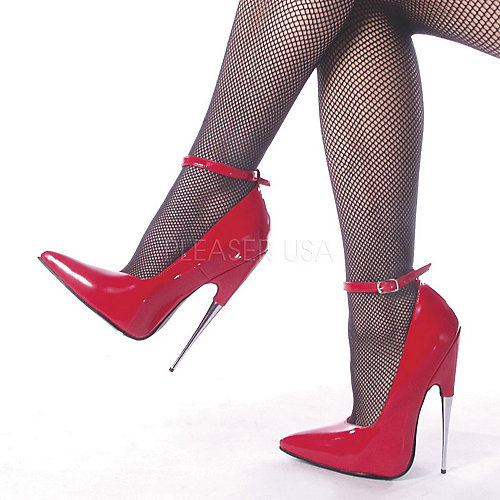 Devious Scream Stiletto Ankle Strap Red Costume Shoes
