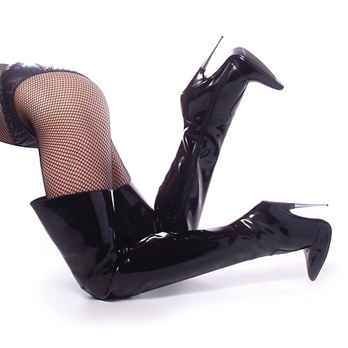 Devious Scream Thigh High Black Costume Shoes