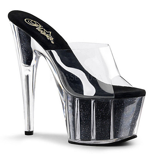 Pleaser Adore-701G Clear Glitter Shoes