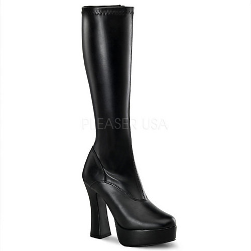 Pleaser Knee-High Boots Electra-2000Z Black Platform Boots