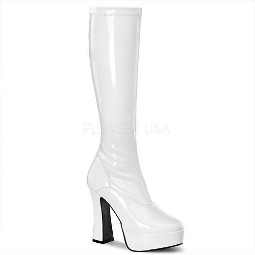 Pleaser Knee-High Boots Electra-2000Z White Platform Boots
