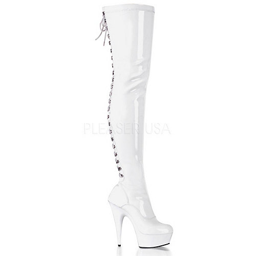 Pleaser Delight-3063 White Platform Boots