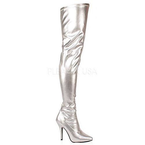 Pleaser Womens Seduce-3000 Silver Thigh-High Boots