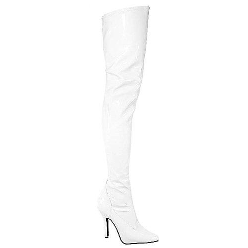 Pleaser Womens Seduce-3000 White Thigh-High Boots