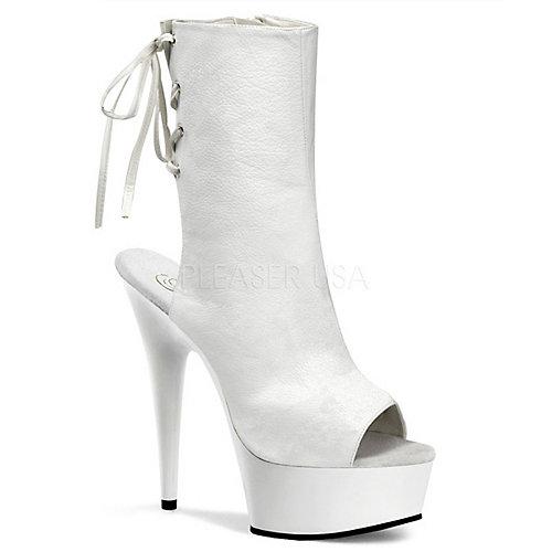 Pleaser Womens Delight-1018 White Platform Boots