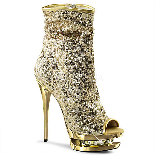 Pleaser Blondie-R-1008 Gold Platform Boots