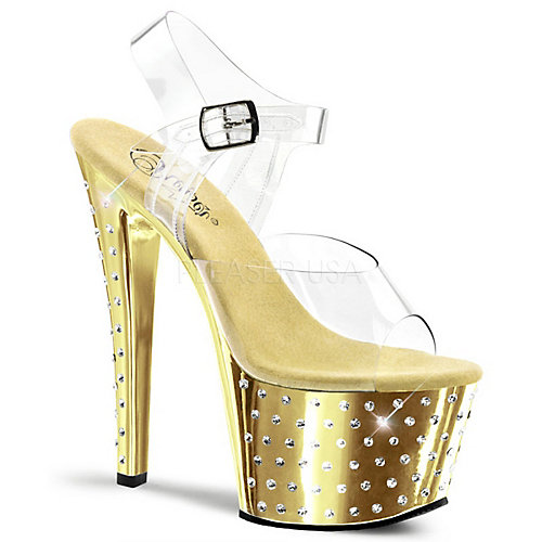Pleaser Stardust-708 Gold Glitter Shoes