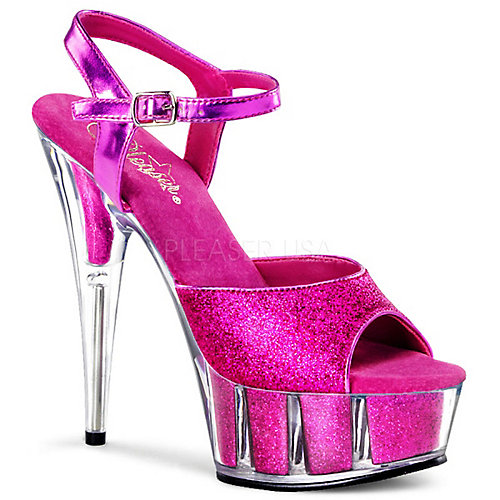 Pleaser Delight-609-5G Platform Heel Pink Glitter Shoes