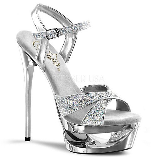 Pleaser Eclipse-619G Silver Shoes