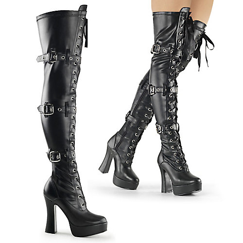 Pleaser Electra-3028 Thigh High Boots Black