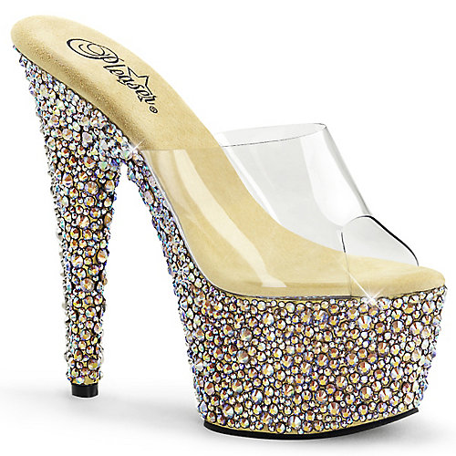 Pleaser Bejeweled-701MS High Heel Platform Shoe Gold Platform Sandals