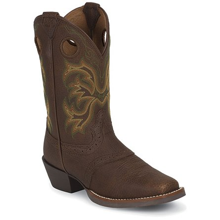 Justin Boots Stampede™ Dark Brown Rawhide W/Perfed Saddle