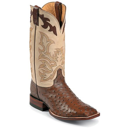Justin Boots Exotics Antique Brown Full Quill Ostrich