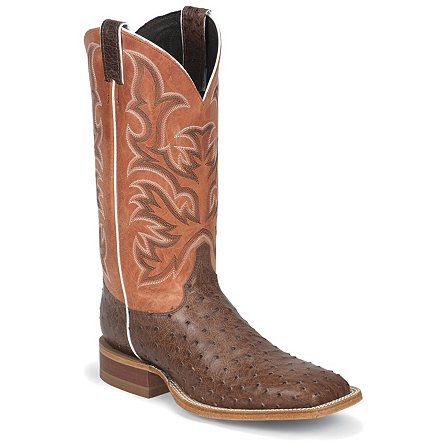 Justin Boots Justin AQHA Antique Brown Vintage Full Quill Ostrich