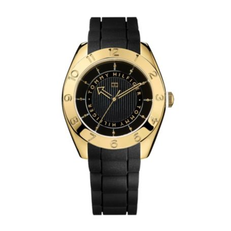 Image for BLACK WITH GOLD PLATE SILICON WATCH from Tommy Hilfiger USA