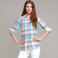 BRIGHT PLAID BUTTON FRONT SHIRT