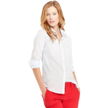 Image for RUFFLE FRONT GINGHAM SHIRT from Tommy Hilfiger USA