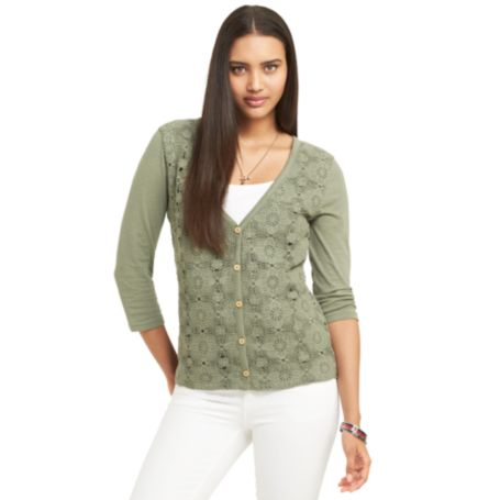 Image for LACE FRONT KNIT CARDIGAN from Tommy Hilfiger USA