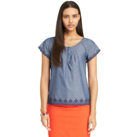 Image for EMBROIDERED CHAMBRAY TOP from Tommy Hilfiger USA