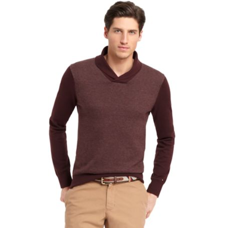 Image for PATTERNED SHAWL NECK SWEATER from Tommy Hilfiger USA