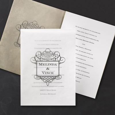 Fancy framework invitation wedding invitations for Carlson craft invitations discount