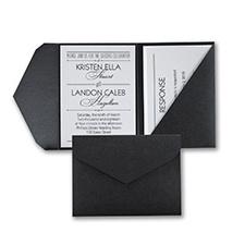 Treasured Love - Invitation with Black Pocket