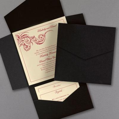 Black and ecru pocket invitation carlson craft wedding for Carlson craft invitations discount