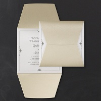 wrapped in gold pocket invitation