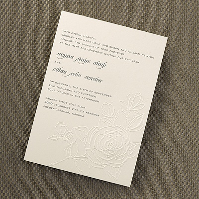 Embossed rose invitation wedding invitations carlson for Carlson craft invitations discount