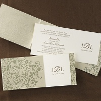 Golden Style monogram wedding invitation