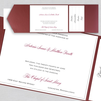 Thermo Simple Elegance - Layered Pocket Invitation - marsala