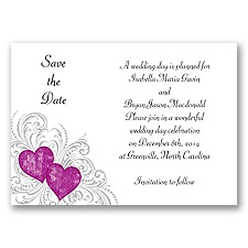 Hearts and Flourishes - Amethyst and Sterling - Save the Date Card